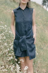 Linen Sleeveless Shirtdress