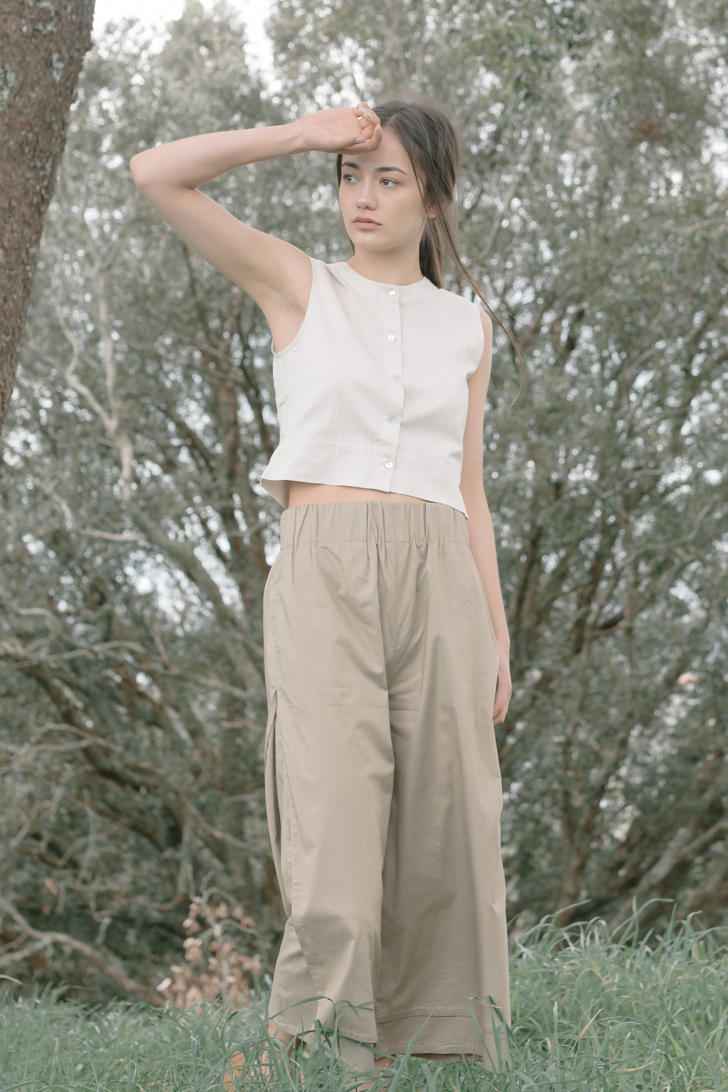 Organic Cotton Button Front Crop Top