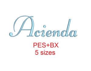 Acienda embroidery font formats bx (which converts to 17 machine formats), + pes, Sizes 0.50 (1/2), 0.75 (3/4), 1, 1.5 and 2""