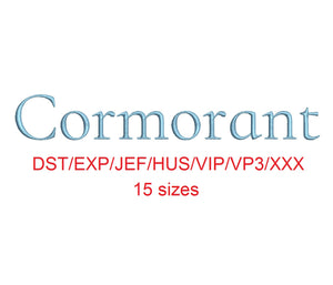 Cormorant embroidery font dst/exp/jef/hus/vip/vp3/xxx 15 sizes small to large