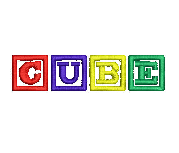 Cube embroidery font formats dst, exp, pes, jef and xxx, Sizes 1, 1.5 and 2 inches, instant download