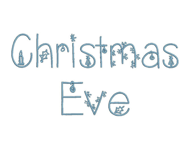 Christmas Eve embroidery font formats dst, exp, pes, jef and xxx, Sizes 1, 1.5 and 2 inches, instant download