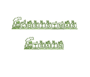 Christmas Train embroidery font formats dst, exp, pes, jef and xxx, Sizes 1, 1.5 and 2 inches, instant download