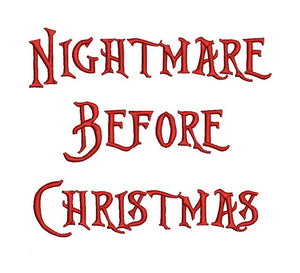 Nightmare Before Christmas embroidery font bx (compatible with 17 machine file formats), dst, exp, pes, jef and xxx, Sizes 1, 1.5, 2 inches