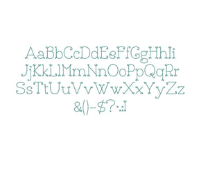Bouclettes embroidery font formats dst, exp, pes, jef and xxx, Sizes 1, 1.5 and 2 inches, instant download