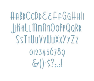 Bittersweet embroidery font bx (compatible with 17 machine file formats), dst, exp, pes, jef and xxx, Sizes 1, 1.5, 2 inches