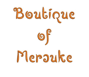 Boutiques of Merauke Script embroidery font formats dst, exp, pes, jef and xxx, Sizes 1, 1.5 and 2 inches, instant download