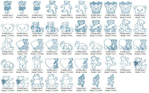 17 Teddy Bear embroidery designs formats dst, exp, pes, jef and xxx, Sizes 1, 1.5 and 2 inches, instant download