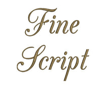 Fine Script embroidery font bx (compatible with 17 machine file formats), dst, exp, pes, jef and xxx, Sizes 1, 1.5, 2 inches