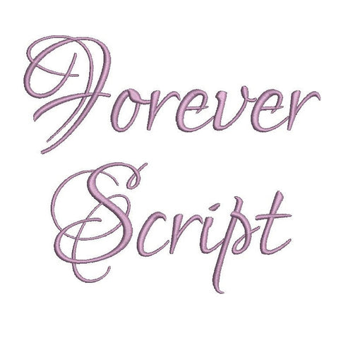 Forever Script embroidery font bx (compatible with 17 machine file formats), dst, exp, pes, jef and xxx, Sizes 1, 1.5, 2 inches