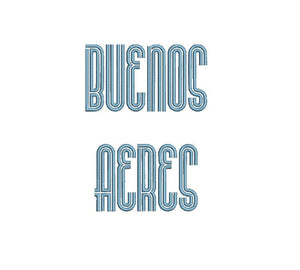 Buenos Aeres embroidery font formats dst, exp, pes, jef and xxx, Sizes 1, 1.5 and 2 inches, instant download