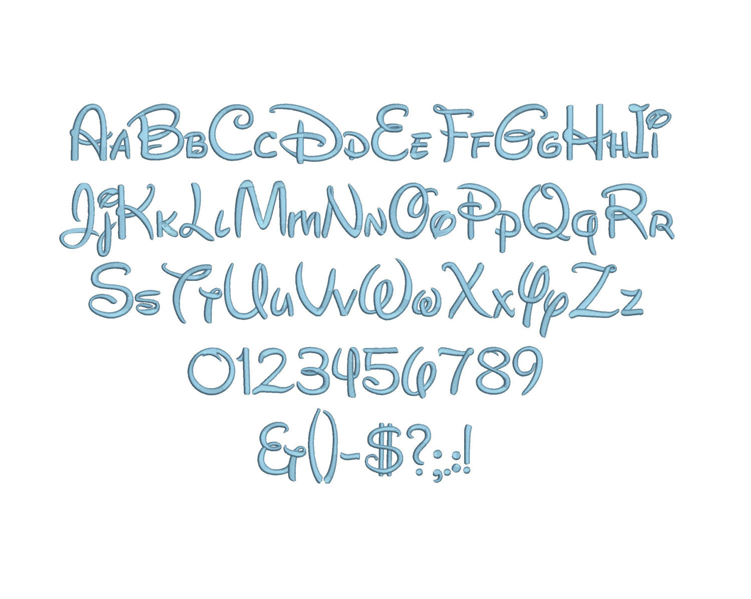 Disney embroidery font formats bx, dst, exp, pes, jef and
