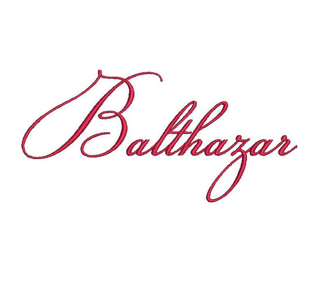 Balthazar Script embroidery font formats dst, exp, pes, jef and xxx, Sizes 1, 1.5 and 2 inches, instant download
