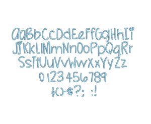 Petit Bisou script embroidery font formats dst, exp, pes, jef and xxx, Sizes 1, 1.5 and 2 inches, instant download