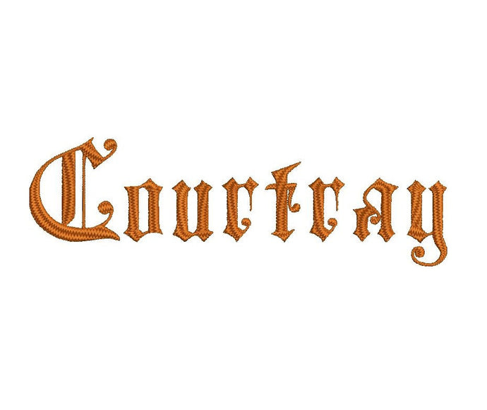 Courtray embroidery font formats dst, exp, pes, jef and xxx, Sizes 1, 1.5 and 2 inches, instant download