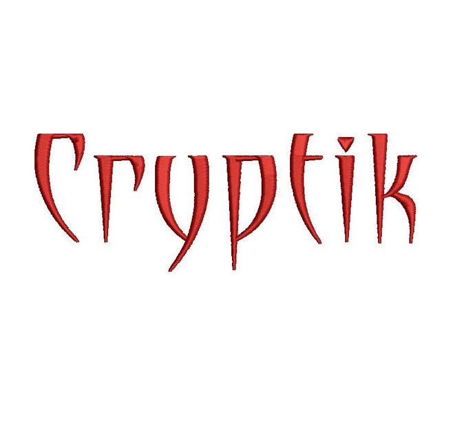 Cryptik embroidery font formats dst, exp, pes, jef and xxx, Sizes 1, 1.5 and 2 inches, instant download