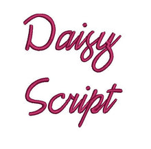 Daisy Script embroidery font formats dst, exp, pes, jef and xxx, Sizes 1, 1.5 and 2 inches, instant download