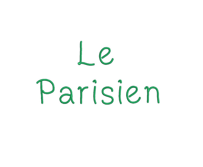 Le Parisien embroidery font formats dst, exp, pes, jef and xxx, Sizes 1, 1.5 and 2 inches, instant download