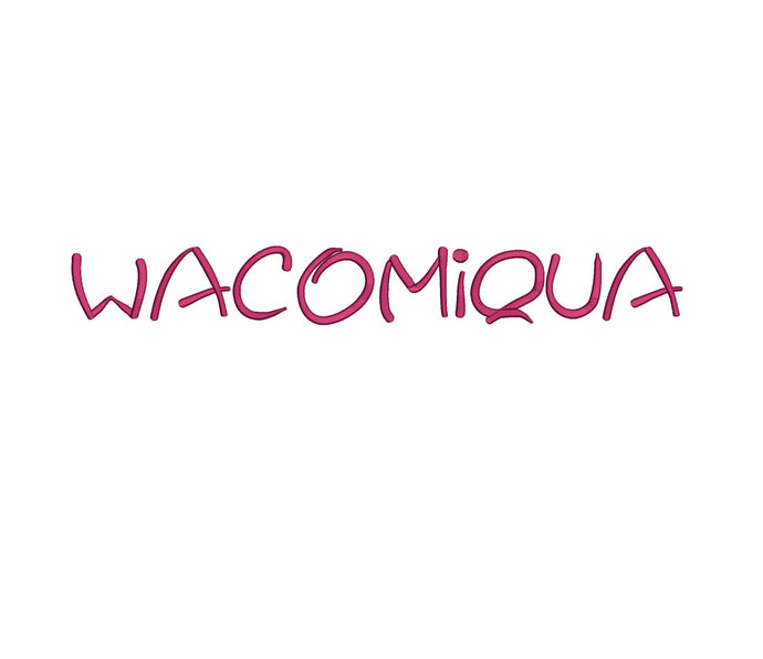 Wacomiqua embroidery font formats dst, exp, pes, jef and xxx, Sizes 1, 1.5 and 2 inches, instant download