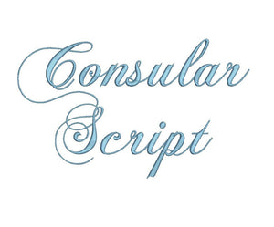 Consular Script embroidery font formats dst, exp, pes, jef and xxx, Sizes 1, 1.5 and 2 inches, instant download