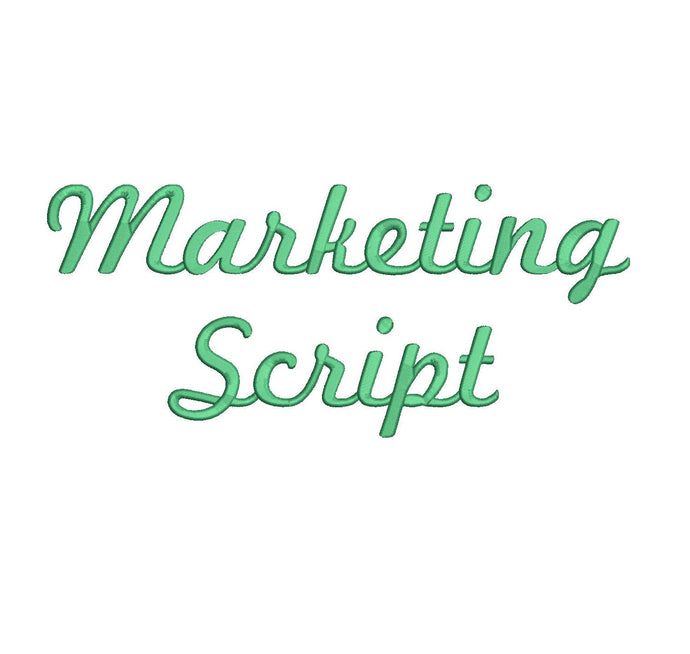Marketing Script embroidery font formats dst, exp, pes, jef and xxx, Sizes 1, 1.5 and 2 inches, instant download