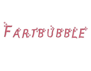 Fartbubble embroidery font formats bx, dst, exp, pes, jef and xxx, Sizes 1, 1.5 and 2 inches, instant download