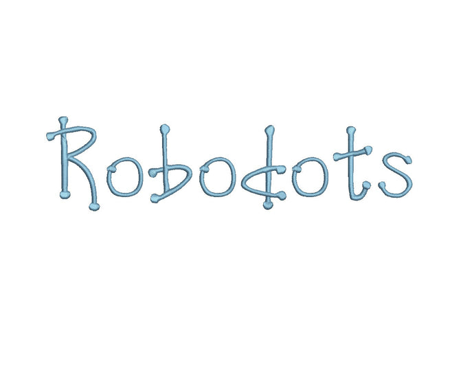 Robodots embroidery font formats bx, dst, exp, pes, jef and xxx, Sizes 1, 1.5 and 2 inches, instant download