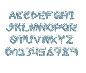 Ice Sticks embroidery font formats dst, exp, pes, jef and xxx, Sizes 1, 1.5 and 2 inches, instant download