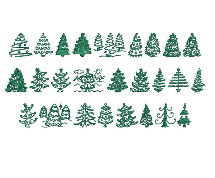 26 Christmas Trees embroidery designs formats dst, exp, pes, jef and xxx, Sizes 1, 1.5 and 2 inches, instant download