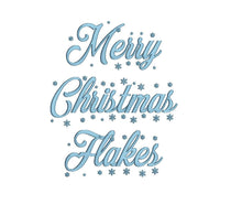 Merry Christmas Flakes embroidery font formats dst, exp, pes, jef and xxx, Sizes 1, 1.5 and 2 inches, instant download