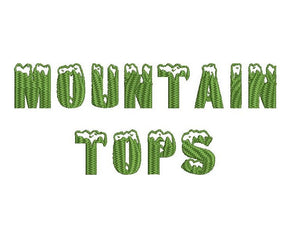 Mountain Tops embroidery font formats dst, exp, pes, jef and xxx, Sizes 1, 1.5 and 2 inches, instant download