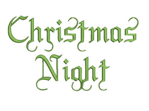 Christmas Night embroidery font formats dst, exp, pes, jef and xxx, Sizes 1, 1.5 and 2 inches, instant download
