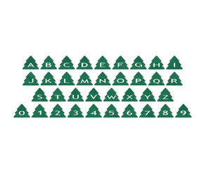 Christmas Trees (set #3) embroidery font formats dst, exp, pes, jef and xxx, Sizes 1, 1.5 and 2 inches, instant download