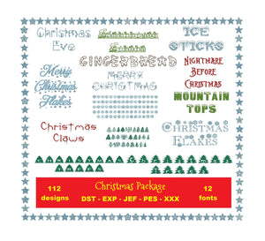 Christmas Package 12 fonts and 112 designs with files dst, exp, pes, jef and xxx, Sizes 1, 1.5 and 2 inches, instant download