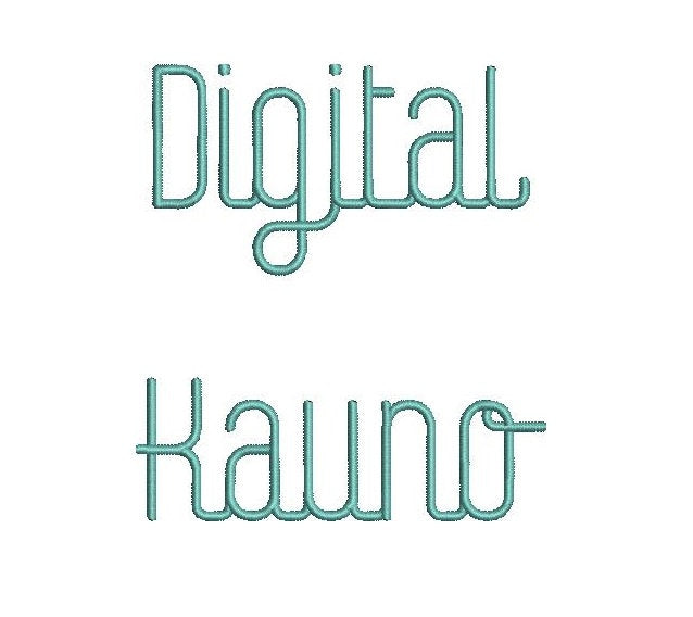 Digital Kauno embroidery font formats dst, exp, pes, jef and xxx, Sizes 1, 1.5 and 2 inches, instant download