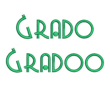 Grado Gradoo embroidery font formats dst, exp, pes, jef and xxx, Sizes 1, 1.5 and 2 inches, instant download