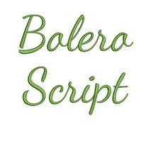 Bolero Script embroidery font bx (compatible with 17 machine file formats), dst, exp, pes, jef and xxx, Sizes 1, 1.5, 2 inches