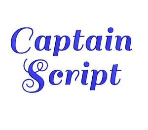 Captain Script embroidery font formats dst, exp, pes, jef and xxx, Sizes 1, 1.5 and 2 inches, instant download
