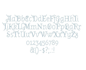 Miranda embroidery font formats dst, exp, pes, jef and xxx, Sizes 1, 1.5 and 2 inches, instant download