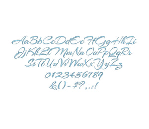 Sarah Script embroidery font formats bx, dst, exp, pes, jef and xxx, Sizes 1, 1.5 and 2 inches, instant download