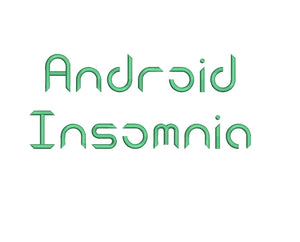 Android Insomnia embroidery font formats dst, exp, pes, jef and xxx, Sizes 1, 1.5 and 2 inches, instant download