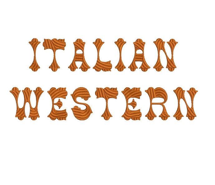 Italian Western embroidery font formats dst, exp, pes, jef and xxx, Sizes 1, 1.5 and 2 inches, instant download