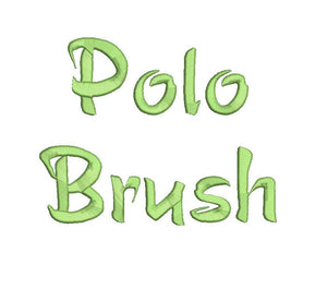 Polo Brush script embroidery font bx (compatible with 17 machine file formats), dst, exp, pes, jef and xxx, Sizes 1, 1.5, 2 inches