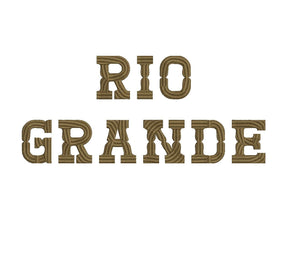 Rio Grande western embroidery font formats dst, exp, pes, jef and xxx, Sizes 1, 1.5 and 2 inches, instant download