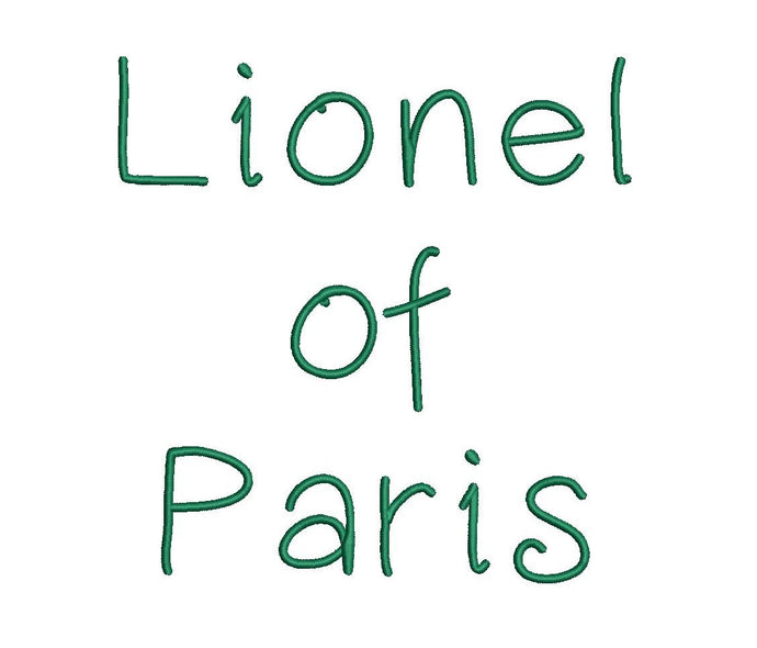 Lionel of Paris embroidery font formats dst, exp, pes, jef and xxx, Sizes 1, 1.5 and 2 inches, instant download