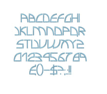 Electro Insanity embroidery font formats dst, exp, pes, jef and xxx, Sizes 1, 1.5 and 2 inches, instant download