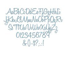 Honey Script embroidery font formats bx, dst, exp, pes, jef and xxx, Sizes 1, 1.5 and 2 inches, instant download