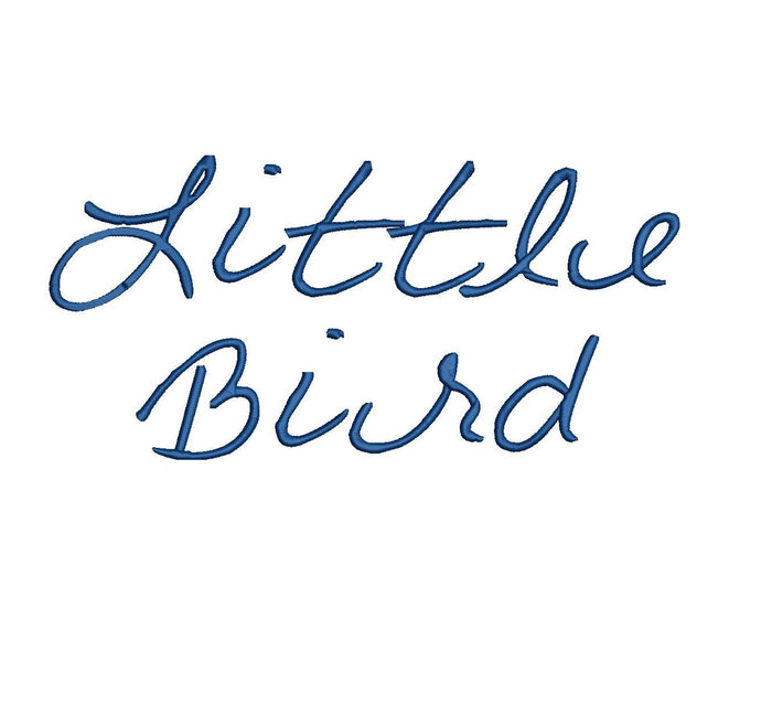 Little Bird Script embroidery font formats dst, exp, pes, jef and xxx, Sizes 1, 1.5 and 2 inches, instant download