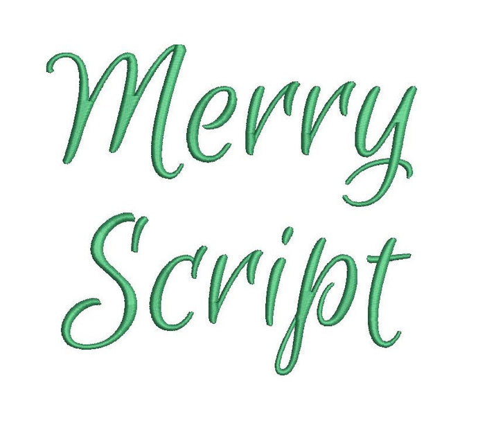 Merry Script embroidery font formats dst, exp, pes, jef and xxx, Sizes 1, 1.5 and 2 inches, instant download