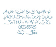 Sabrina Script embroidery font formats dst, exp, pes, jef and xxx, Sizes 1, 1.5 and 2 inches, instant download